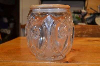 early american antique pressed pattern glass biscuit or tobacco jar