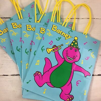 Barney And Friends Gift Bags Lot Of 5 New Vintage 1993 Birthday Party Hallmark