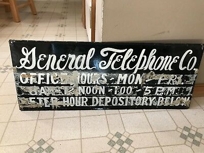Vintage Telephone Sign General Telephone Co,old Original Sign