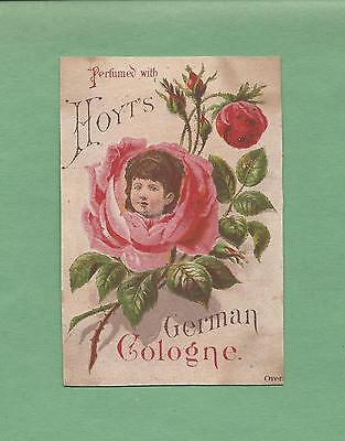 GIRL'S FACE IN FLOWER On HOYT'S GERMAN COLOGNE Victorian Trade Card--LOWELL, MA