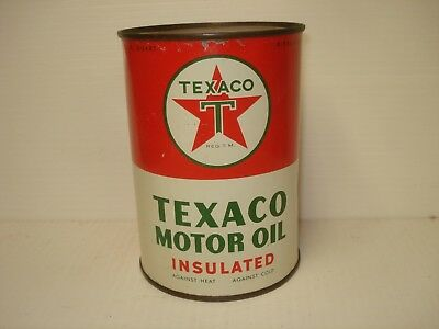 Texaco Vintage Old Insulated Quart Oil Can SAE 30