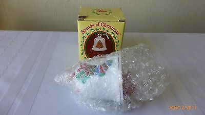 Vintage Russ Berrie Sounds of Christmas Porcelain Bear Bell Ornament Orig Box