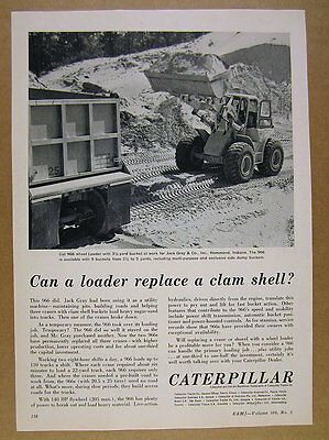 1963 CAT Caterpillar 966 Wheel Bucket Loader photo vintage print Ad
