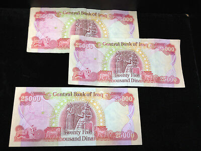 75,000 New Iraqi Dinar, 3 Notes -3 x 25,000 Iraq Banknotes