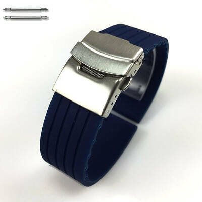 Blue Rubber Silicone Replacement Watch Band Strap Double Locking Steel Buckle