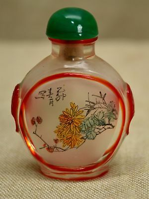 Vintage CHINESE Reverse Painted PEKING GLASS SNUFF BOTTLE - SIGNED