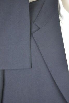 42R Vintage Vernini Premiato Navy Wool Suit; 3 Btn No Vent Jacket; Single Pleat