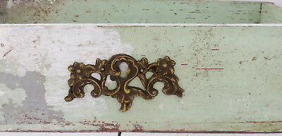 HUGE Old Vintage Antique CAST BRONZE Key Hole Cover Escutcheon FLORAL ORNATE