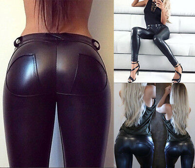 Lady Womens PU Leather Pants Stretchy Push Up Pencil Skinny Tight Leggings M415
