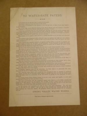 1880 Spring Valley Water Works Rate Notice Card San Francisco California Antique