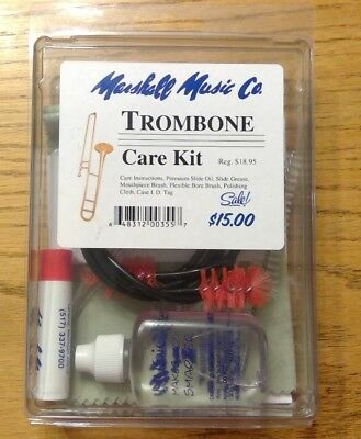 Marshall Music Co. trombone care kit with instructions for beginners. Unopened