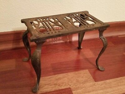 Antique Art Nouveau Cast Iron Fireplace Insert Kettle Pot Warmer Stand Foot Rest
