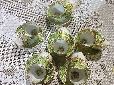 Superb Early Staffordshire Hand Painted Tea,coffee Trio x6