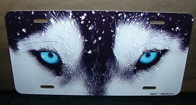 White Wolf Growling Novelty Metal Vanity Tag License Plate