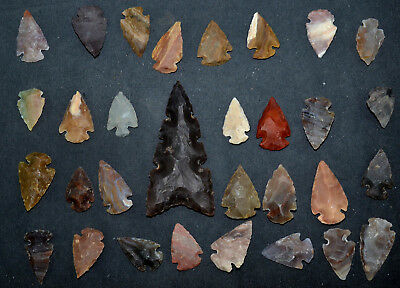 """30 PC Flint Arrowhead Ohio Collection Points 1-3"""" Spear Bow Knife Hunting Blade"""