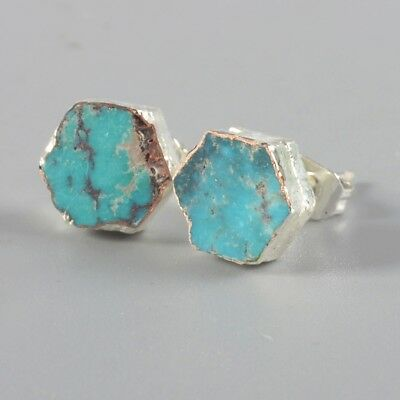 8mm Hexagon Natural Genuine Turquoise Stud Earrings Silver Plated T052382