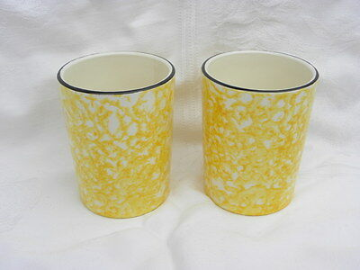 Pair of Vintage Stangl Town and Country Yellow Spongeware 9 oz. Tumblers