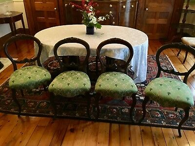 Victorian Set of Four American Chairs 1800-1899; New Quadrille Designer Fabric