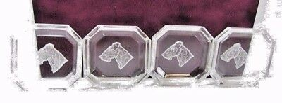 Lot Of Six Small Salts Ashtray Vintage Crystal Glass Reverse Carved Dog Scottie