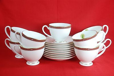 Waterford TRAPANI China Cups & Saucers New With Tags ( Set of 9 )
