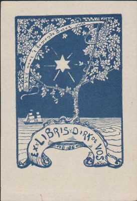 'Dirk De Vos'  Belgium Ship Sea Tree Star Bookplate   RO.63