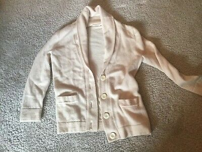 vintage J. CREW off white Cashmere Cardigan Sweater pockets buttons sz Small EUC
