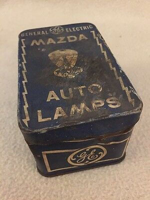 """Vintage GE Mazda Auto Lamps Hinged Tin Box  4"""" x 3"""" with contents"""