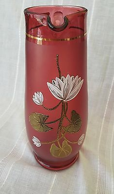 Vintage RARE Egermann Czech Hand Painted Glass Pitcher Ruby Red Water Lilies