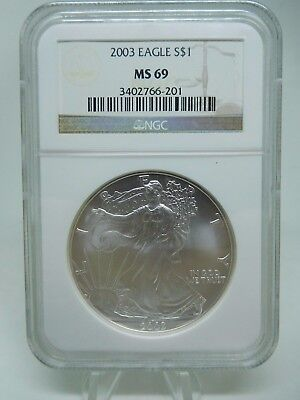 2003 US Silver 1oz American Eagle MS69 By NGC
