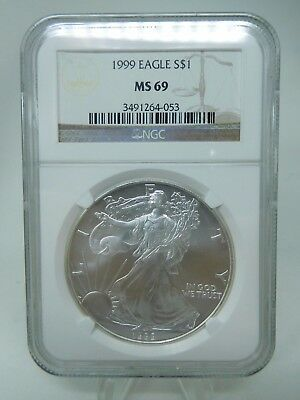 1999 US Silver 1oz American Eagle MS69 By NGC