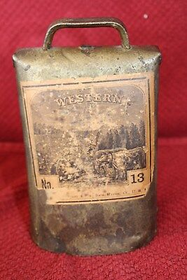 Vtg Antique Sargent #13 Western Brass Cow Bell Riveted Iron Clapper Hand Forged