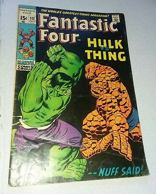 Fantastic Four #112 1st Hulk vs. Thing battle classic silver age cover lot movie