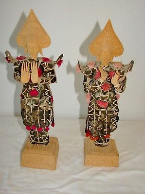 "A Pair of 15"" TALL ASIAN, CHINESE, INDONESIAN PROSPERITY, OLD MONEY, COIN DOLLS"