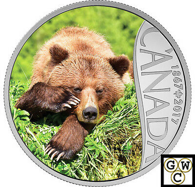 2017Grizzly Bear-Celebrating Canada's150th Color Prf $10Silver 1/2oz.9999(17982)