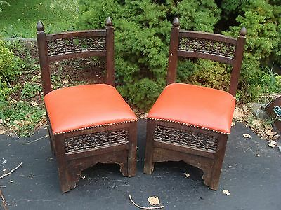 2 ~ Vintage Mid Century Modern Ornate Asian Oriental Wood Side Chair restore