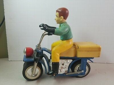 Rare Vintage Bandai Tin Plastic Motorcycle With Rider Battery Operated