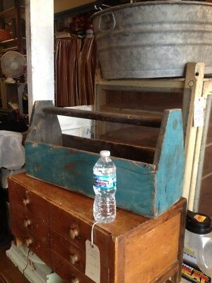 Antique Primitive Wooden Tote Tool Box Old Blue Paint Country Farm Carpenters