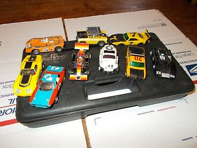 Vintage Afx Slot Car Lot Of 9 With Cary Case-9 Cars-Vw-43 Car