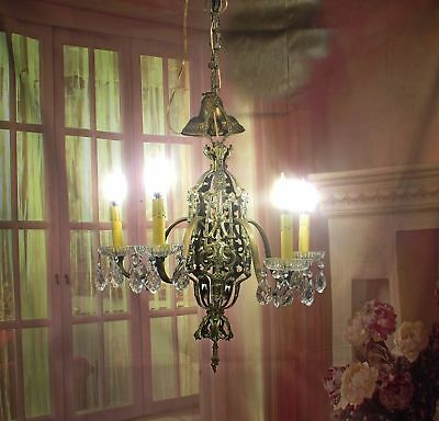 Antique Vintage Art Deco Chandelier Restored Rewired Ceiling Fixture Gothic