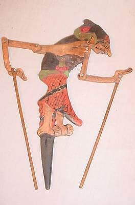 ANTIQUE HAND CARVED WOODEN JAVA INDONESIAN WAYANG KULIT SHADOW PUPPET aa