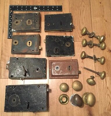 Vintage Door Locks And Knobs Large, 6-8 Inches Some Keys Full Of Character