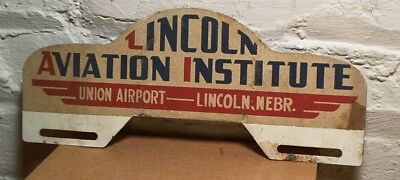 Lincoln Aviation Institute Union Airport Advertising License Plate Topper Sign