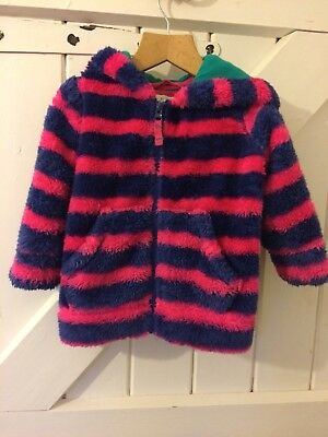 Mini Boden Girls Striped Fluffy Zip Up Hoody Age 2 - 3 Years