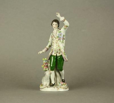 Antique Porcelain Figurines of a Dancing Gentelman with Sheep by Sitzendorf