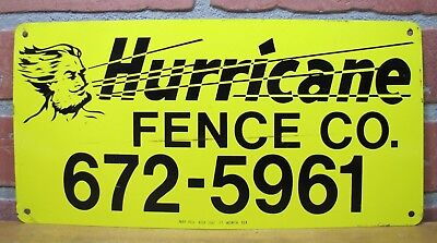 Vtg HURRICANE FENCE Co Advertising Sign May Adv Ft Worth Tex Man Blowing Wind