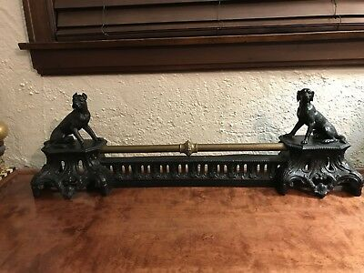 Antique French Fireplace Andirons Chenet Black Labrador Great Dane Boxer Brass