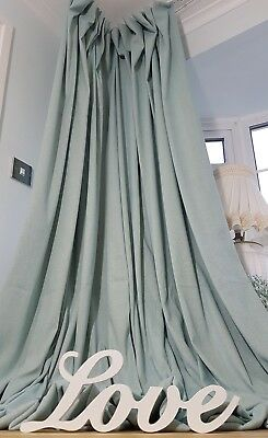 "Quality Duck Egg Brushed Linen Blanket Lined Heavy 93"" Long 55"" Wide Curtains"