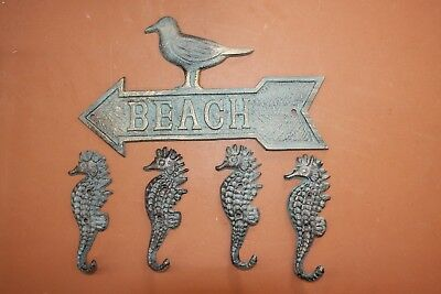 (5), Antiqued-look Beach House Seagull Wall Decor & Bronze-look Seahorse Hooks