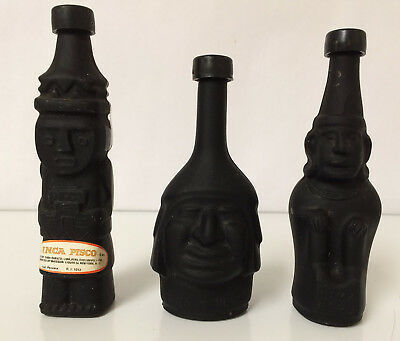Set of 3 Inca Pisco Lima Peru Liquor Bottles Casa Ranuzzi