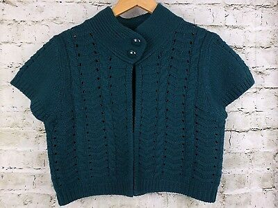 A. Giannetti Womens Sweater Shrug Teal Green Chunky Knit Lambs Wool Size XL